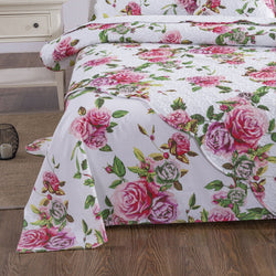 SHEET SET - DaDa Bedding Romantic Roses Flat Bed Sheet Only - Lovely Spring Pink Floral Garden (JHW879-Flat) - DaDa Bedding Collection