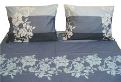 SHEET SET - DaDa Bedding Navy Blue Floral Striped Flat Sheet & Pillow Case Set -Twin - 2-Pieces (FS8153) - DaDa Bedding Collection