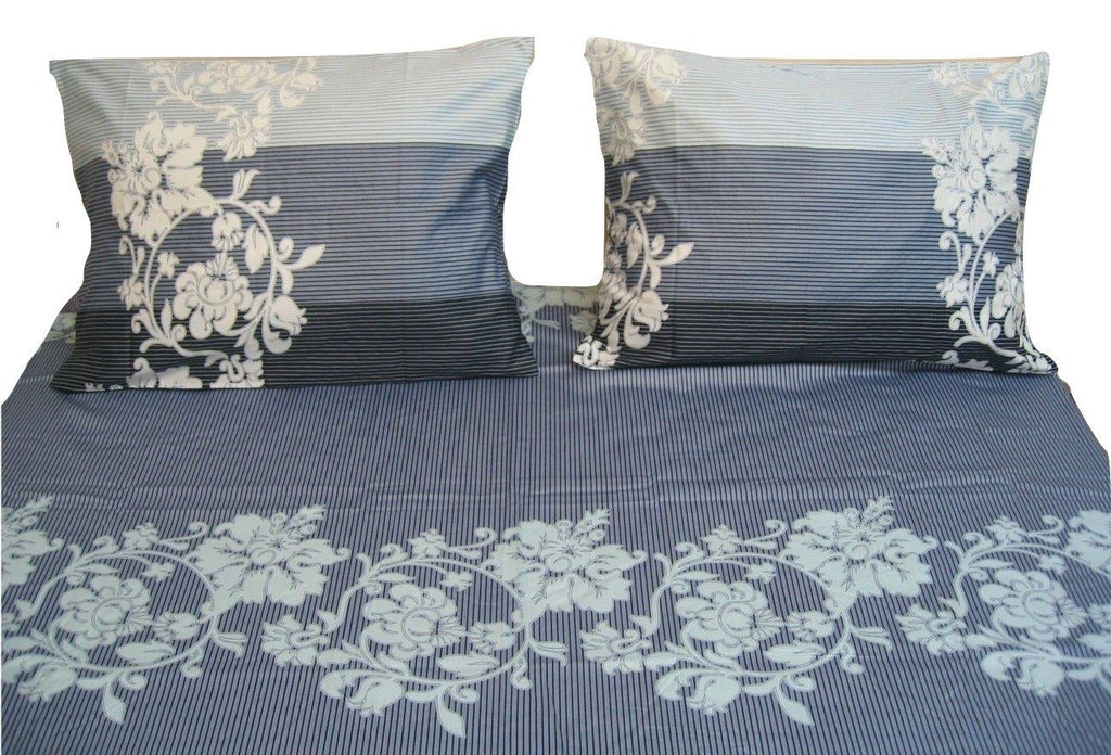 Dada Bedding Navy Blue Floral Striped Jacquard Fitted Flat Sheets Pillow Cases Set Fsfs8153 Dada Bedding Collection