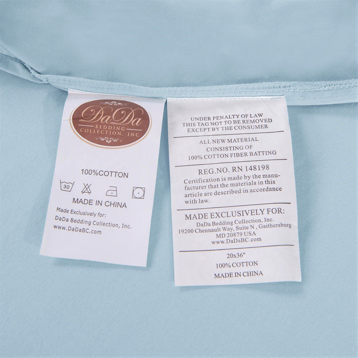 SHEET SET - DaDa Bedding Sea-Foam Baby Blue 100% Cotton Fitted Bed Sheet & w/Pillow Cases Set (JHW604) - DaDa Bedding Collection