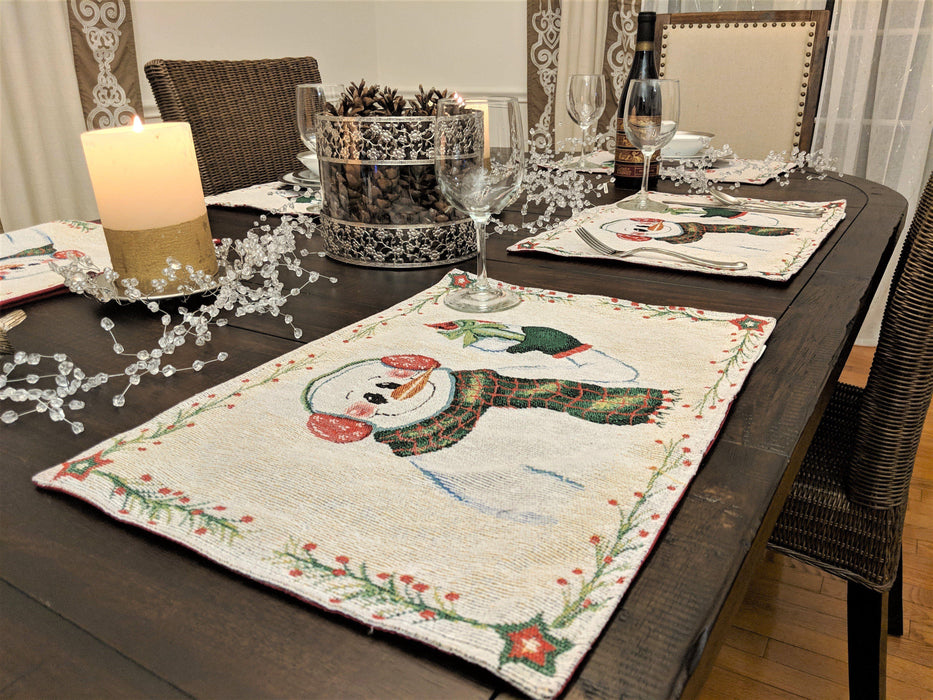 Table Linen - DaDa Bedding Set of 8 Pieces Magical Snowman Holiday Table Tapestry - 4 Placemats, 2 Table Runners, 2 Throw Pillow Covers (9733) - DaDa Bedding Collection