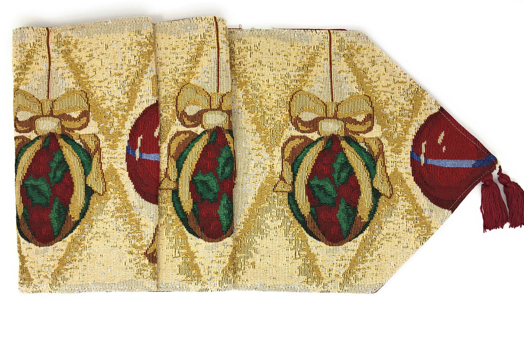 TABLE RUNNER - DaDa Bedding Elegant Christmas Ornament Table Runner, Festive Red Tapestry (6139) - DaDa Bedding Collection