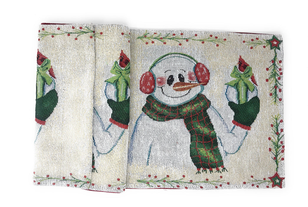 TABLE RUNNER - DaDa Bedding Magical Snowman Table Runner, Holiday White Tapestry (9733) - DaDa Bedding Collection