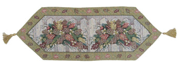 TABLE RUNNER - DaDa Bedding Merry Christmas Fiesta Floral Beige Tan Hand-Crafted Woven Tapestry Desk Dining Table Runners (6068)