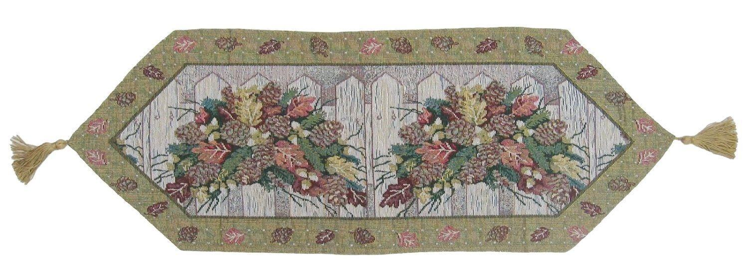 TABLE RUNNER - DaDa Bedding Christmas Fiesta Floral Beige Tapestry Table Runner (6068) - DaDa Bedding Collection