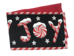 TABLE RUNNER - DaDa Bedding Peppermint Joy Table Runner, Holiday Red Black Stars Tapestry (12904) - DaDa Bedding Collection