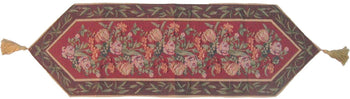 TABLE RUNNER - DaDa Bedding Romantic Floral Field Of Roses Burgundy Red Brown Hand-Crafted Decorative Woven Place Mat Table Runners Cloths (5594)