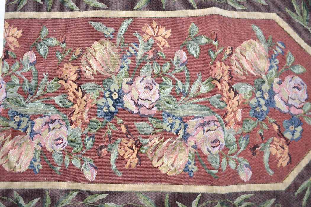 TABLE RUNNER - DaDa Bedding Romantic Floral Field of Roses Burgundy Red Tapestry Table Runner (5594) - DaDa Bedding Collection
