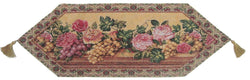 TABLE RUNNER - DaDa Bedding Romantic Parade of Fruit & Roses Floral Tapestry Table Runner (14426) - DaDa Bedding Collection