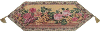 TABLE RUNNER - DaDa Bedding Romantic Parade Of Fruit And Roses Floral Beige Pink Woven Place Mat Table Runners Cloths (14426)