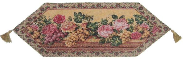 TABLE RUNNER   DaDa Bedding Romantic Parade Of Fruit And Roses Floral Beige  Pink Woven Place