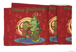 TABLE RUNNER - DaDa Bedding Santa Claus Table Runner, Colorful Holiday Red Tapestry (17615) - DaDa Bedding Collection