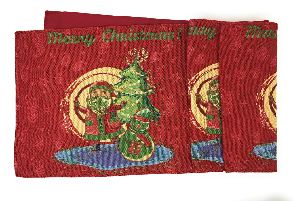 TABLE RUNNER - DaDa Bedding Santa Clause Table Runner, Colorful Holiday Red Tapestry (17615) - DaDa Bedding Collection