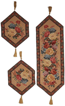 TABLE RUNNER - DaDa Bedding Set of Three Breath of Spring Floral Beige Tapestry Table Runners - 3-Pieces (3089) - DaDa Bedding Collection