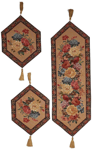 TABLE RUNNER - DaDa Bedding Set Of Three Breath Of Spring Floral Beige Tan Brown Tapestry Place Mats Table Runners - 3-Pieces