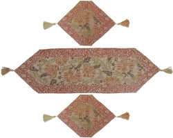 TABLE RUNNER - DaDa Bedding Set of 3 Floral Nature Garden Beige Tapestry Table Runners (10072) - DaDa Bedding Collection