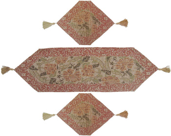 TABLE RUNNER - DaDa Bedding Set Of Three Floral Nature Garden Beige Tan Orange Tapestry Place Mats Table Runners - 3-Pieces