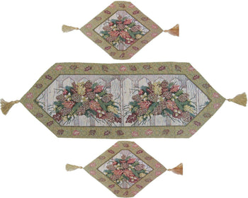 TABLE RUNNER - DaDa Bedding Set Of Three Merry Christmas Holiday Fiesta Floral Beige Tan Tapestry Place Mats  Table Runners - 3-Pieces