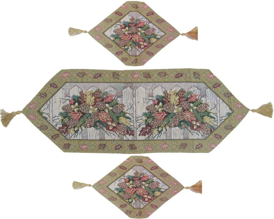 TABLE RUNNER - DaDa Bedding Set of Three Christmas Fiesta Floral Beige Tapestry Table Runners - 3-Pieces - DaDa Bedding Collection