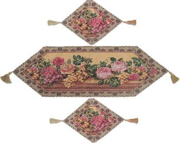 TABLE RUNNER - DaDa Bedding Set Of Three Romantic Floral Parade Of Fruit And Roses Beige Pink Tapestry Table Runners Place Mats - 3-Pieces