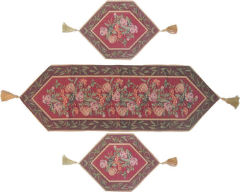 TABLE RUNNER - DaDa Bedding Set Of Three Romantic Valentine Field Of Roses Floral Red Brown Tapestry Place Mats Table Runners - 3-Pieces
