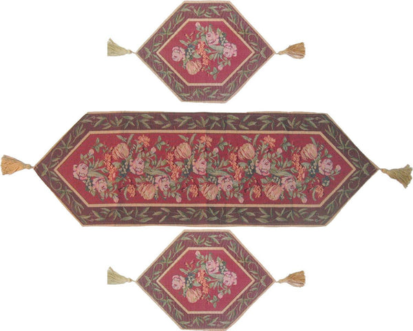 Marvelous DaDa Bedding Set Of Three Romantic Valentine Field Of Roses Floral Tapestry  Table Runner   3 Pieces