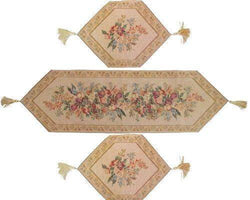 TABLE RUNNER - DaDa Bedding Set of 3 Wildflower Wonderland Floral Beige Tapestry Table Runner (3100) - DaDa Bedding Collection