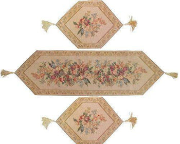 TABLE RUNNER - DaDa Bedding Set Of Three Wildflower Wonderland Floral Beige Tan Tapestry Place Mats Table Runners - 3-Pieces
