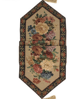TABLECLOTH - DaDa Bedding Breath of Spring Floral Beige Brown Tapestry Table Runner Cloth (3089) - DaDa Bedding Collection