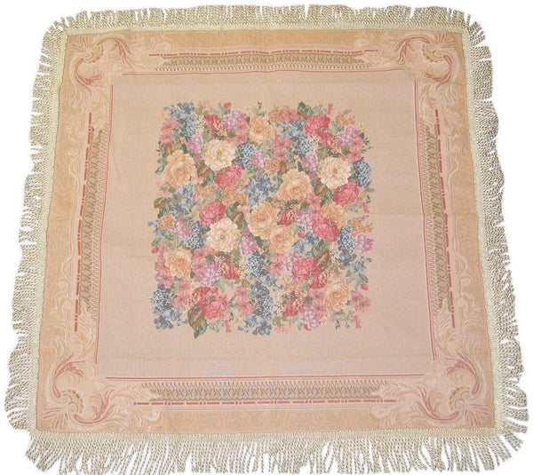 TABLECLOTH   DaDa Bedding Breath Of Spring Floral Beige Tan Hand Crafted  Intricate Woven Square