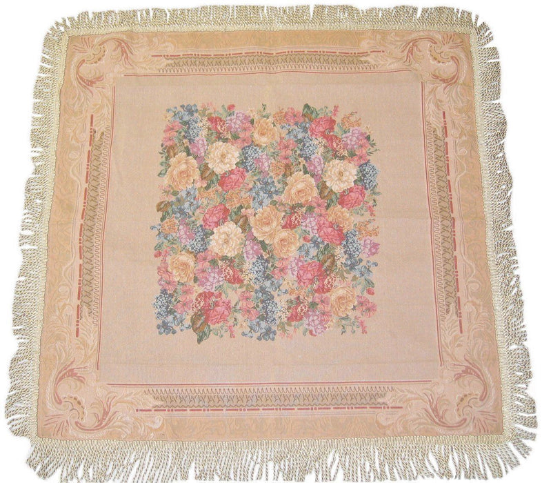 TABLECLOTH - DaDa Bedding Breath of Spring Floral Beige Intricate Ornate Square Tapestry Table Cloth - DaDa Bedding Collection