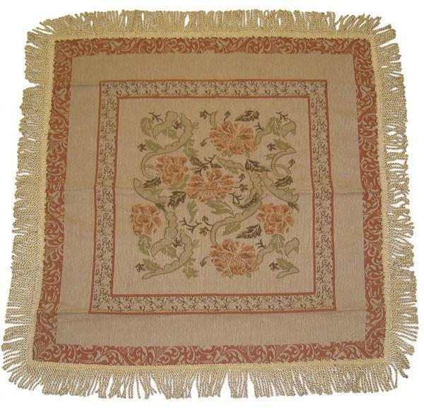 TABLECLOTH - DaDa Bedding Floral Nature Garden Beige Orange Square Tapestry Table Cloth (10072) - DaDa Bedding Collection