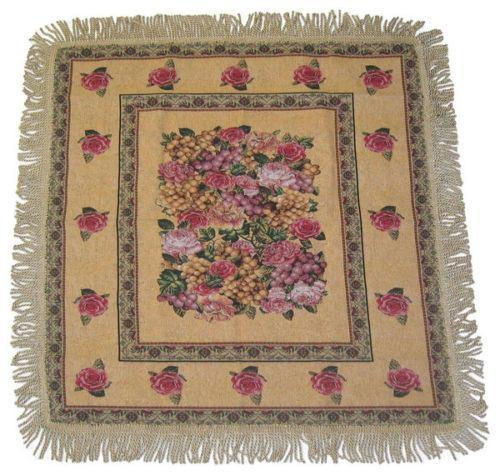 TABLECLOTH - DaDa Bedding Parade of Fruit & Roses Floral Beige Square Tapestry Table Cloth (14426) - DaDa Bedding Collection