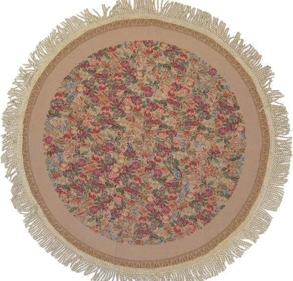 TABLECLOTH - DaDa Bedding Woven Wildflower Wonderland Round Floral Beige Circle Tapestry Table Cloths