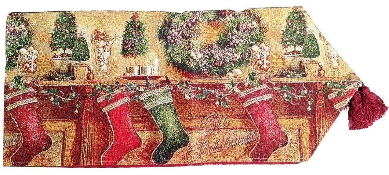 Tablerunners - Tache Festive Christmas Hung With Care Table Runner