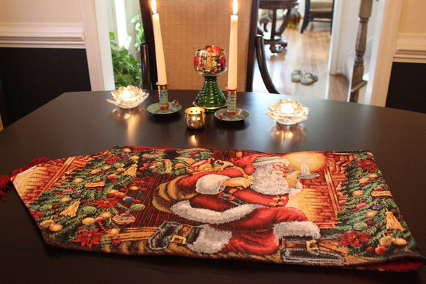 Tablerunners   Tache Festive Down The Chimney Woven Tapestry Table Runners