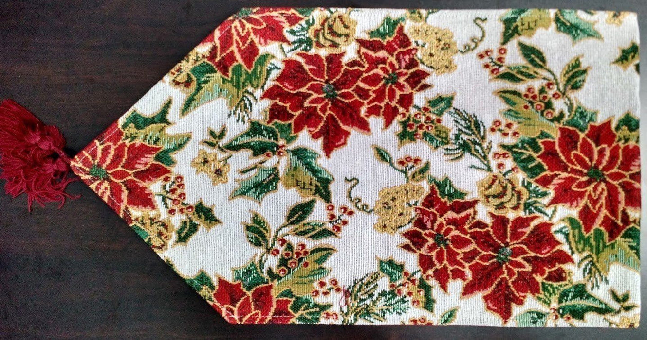 Tablerunners - Tache New Festive Red Christmas Deck The Halls Table Runner
