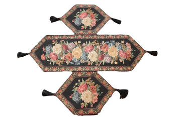 Tablerunners - Tache Set Of 3 Colorful Country Rustic Black Floral Midnight Awakening Table Runner Set
