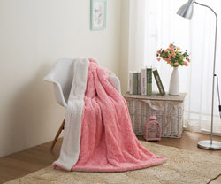 DaDa Bedding Luxury Rose Buds Baby Pink Faux Fur w/ Sherpa Backside Fleece Throw Blanket (BL-171752) - DaDa Bedding Collection