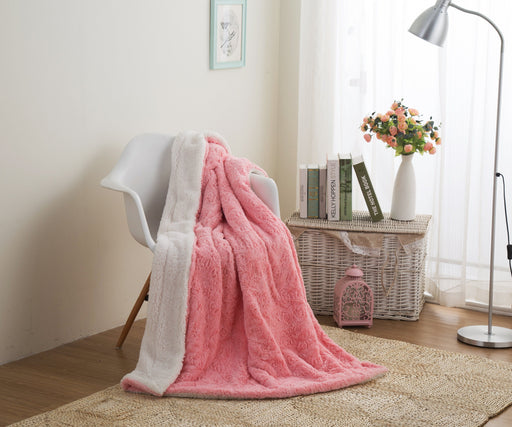 Throw Blanket - DaDa Bedding Luxury Rose Buds Baby Pink Faux Fur W/ Sherpa Backside Fleece Throw Blanket (BL-171752)
