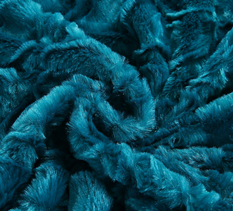 Throw Blanket - DaDa Bedding Mermaid Scales Blue Teal Faux Fur w/ Sherpa Backside Fleece Throw Blanket (BL-171805) - DaDa Bedding Collection
