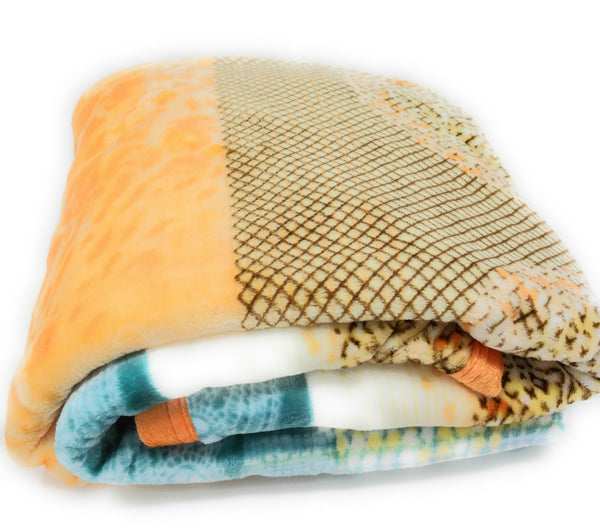 Throw Blanket - DaDa Bedding Papaya Beach Orange & Blue Reversible Soft Warm Cozy Plush Luxe Fleece Flannel Throw Blanket (XY9841)
