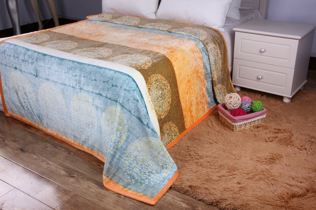 Throw Blanket - DaDa Bedding Papaya Beach Orange & Blue Reversible Soft Fleece Flannel Throw Blanket (XY9841) - DaDa Bedding Collection