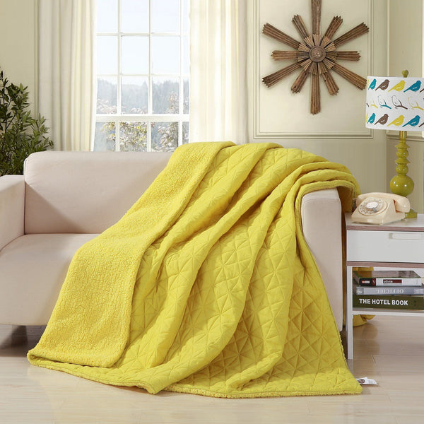 Throw Blanket - DaDa Bedding Tuscan Sun Solid Yellow Reversible Soft Stitched With Sherpa Backside Quilted Ultra Sonic Throw Blanket Bedspread (BJ0107)