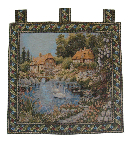 "WALL HANGING - DaDa Bedding Village Scene French Country Elegant Woven Fabric Baroque Tapestry Wall Hanging - 36"" X 36"""