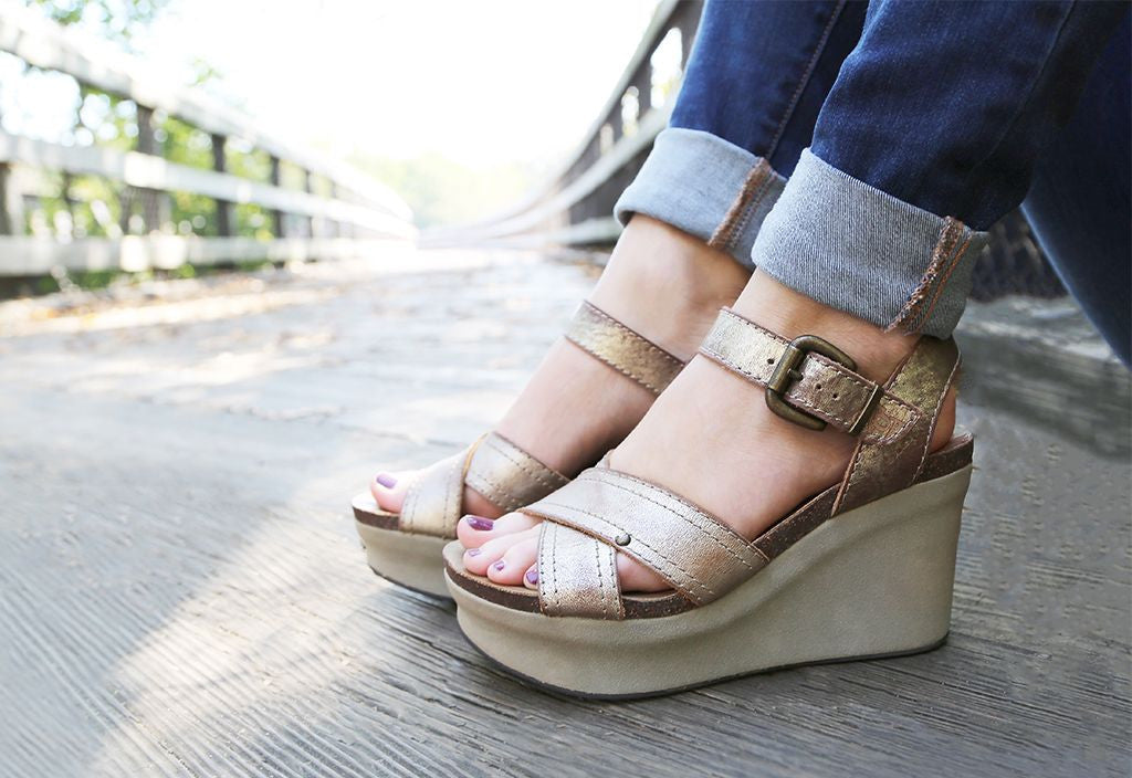 Welcome spring with OTBT Shoes and their Bee Cave platform wedges for women.