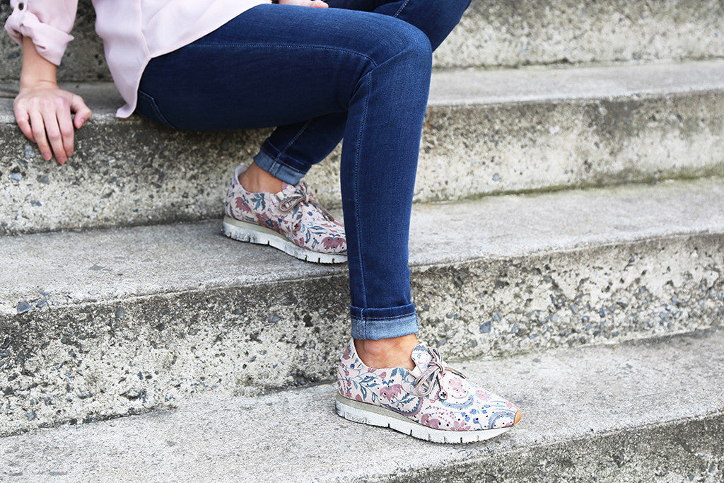 Celebrate Easter weekend in stylish and casual comfort with the Lunar, comfortable and fashionable floral sneakers from OTBT Shoes.