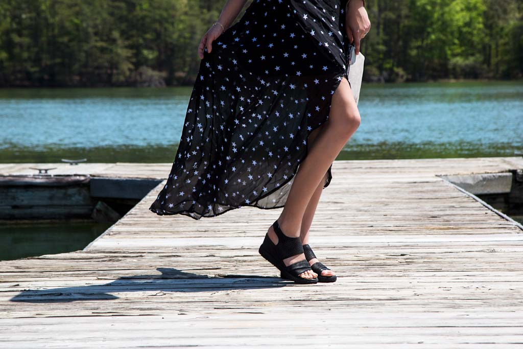 OTBT's Milky Way wedge sandals styled for summer.