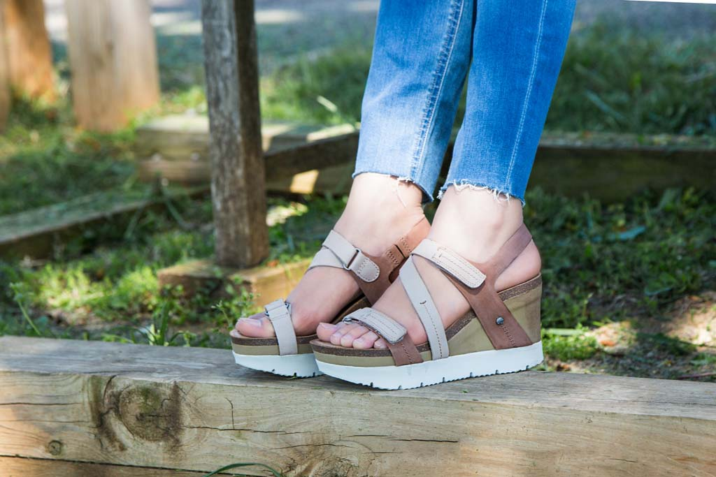 OTBT's Wavey wedges paired with a summer outfit.