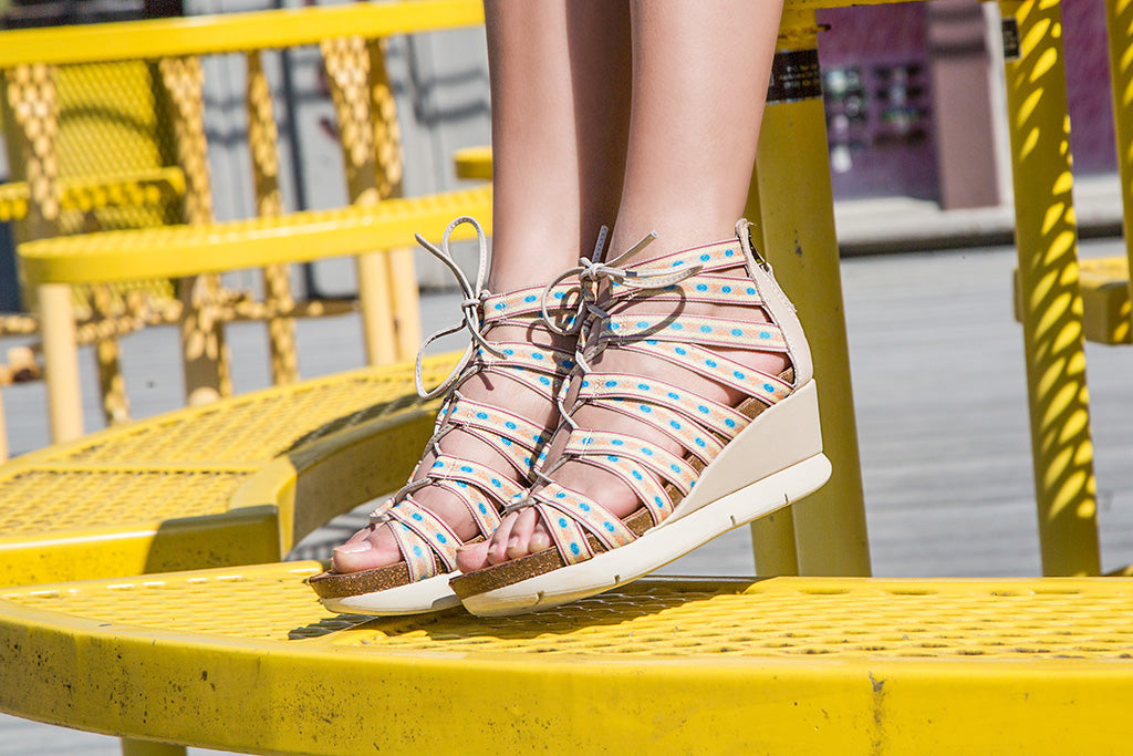 OTBT's Way Out wedge sandals paired with a summer outfit.